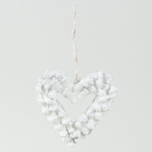 Natural Decoration Heart White