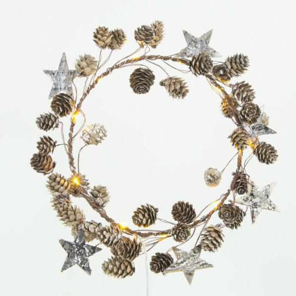 Star and Cone Wire Wreath 30cm