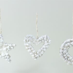 Natural Decorations Heart, Star and Wreath mix box white