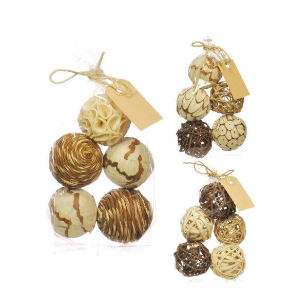 Deco Balls, Mixed, 6cm, natural