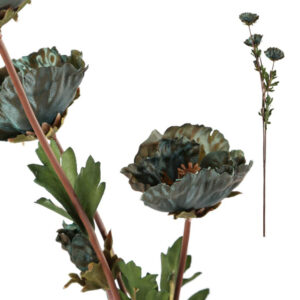 Blue poppy faux flower stems