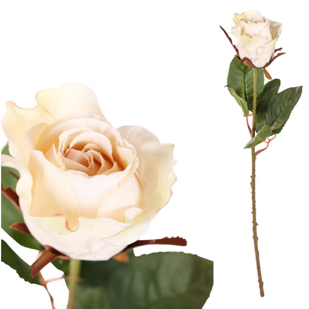 Rose creamy yellow flower 52cm stems