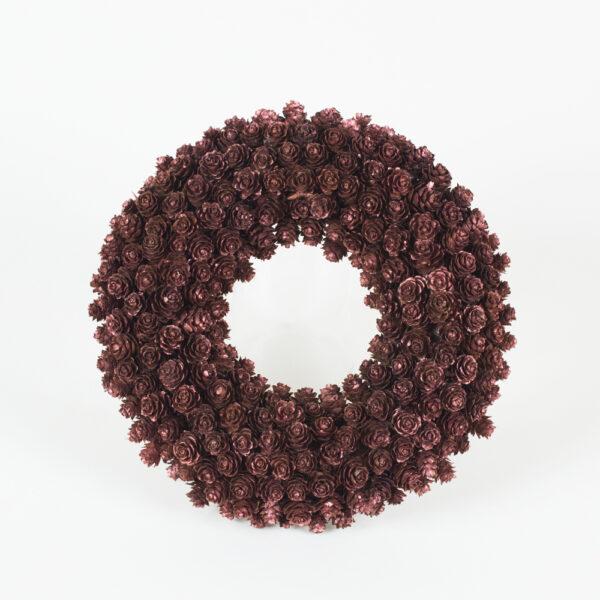Omerica cone wreath decoration in copper and glitter