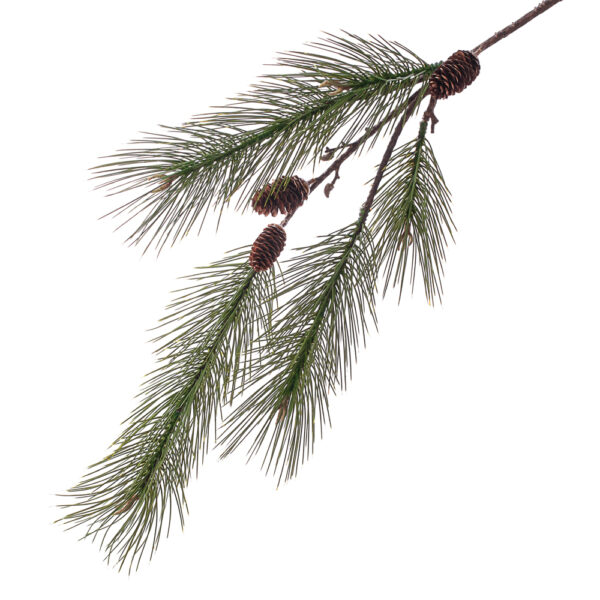 Faux Pine Spray, 124cm with cones and buds
