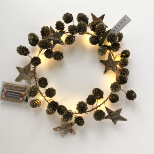 Wreath Star and Cone Champagne Gold With Lights