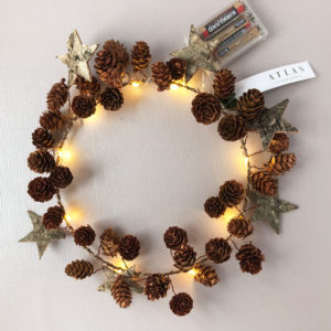 Star and Cone Wreath, With Lights, Copper Finish, 30cm