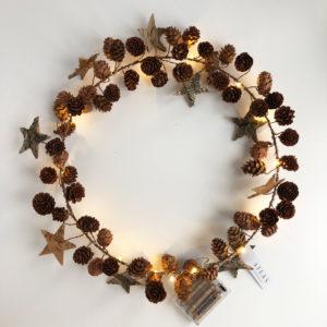 Birch Bark Star and Cone Wreath Copper