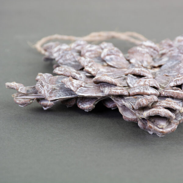 This is an image of a star shaped decoration, made from pine cone petals, and finished with a chalk wash to give a misty white colour over the natural brown of the petals.