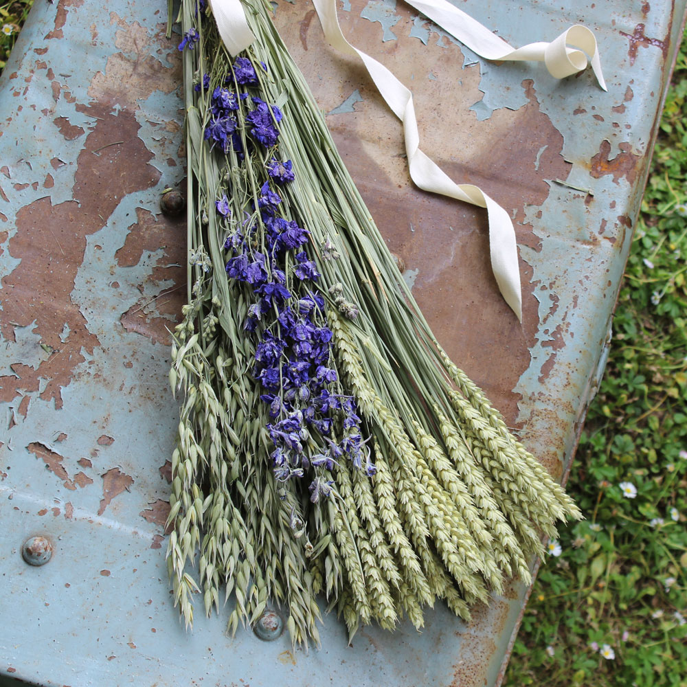 Dried Wheat Delphinium Bunch