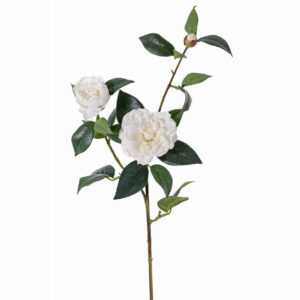Faux Camellia Spray, White