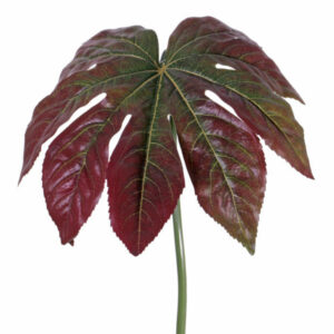 Faux Fatsia Leaf Red and Green