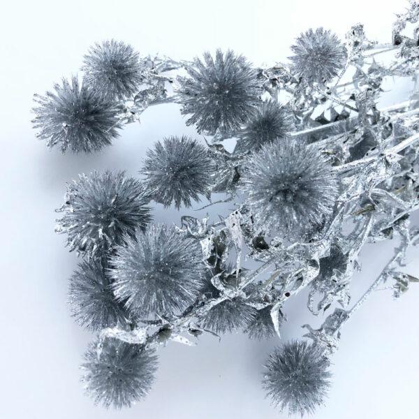 Dried Echinops, Silver, Silver Glitter