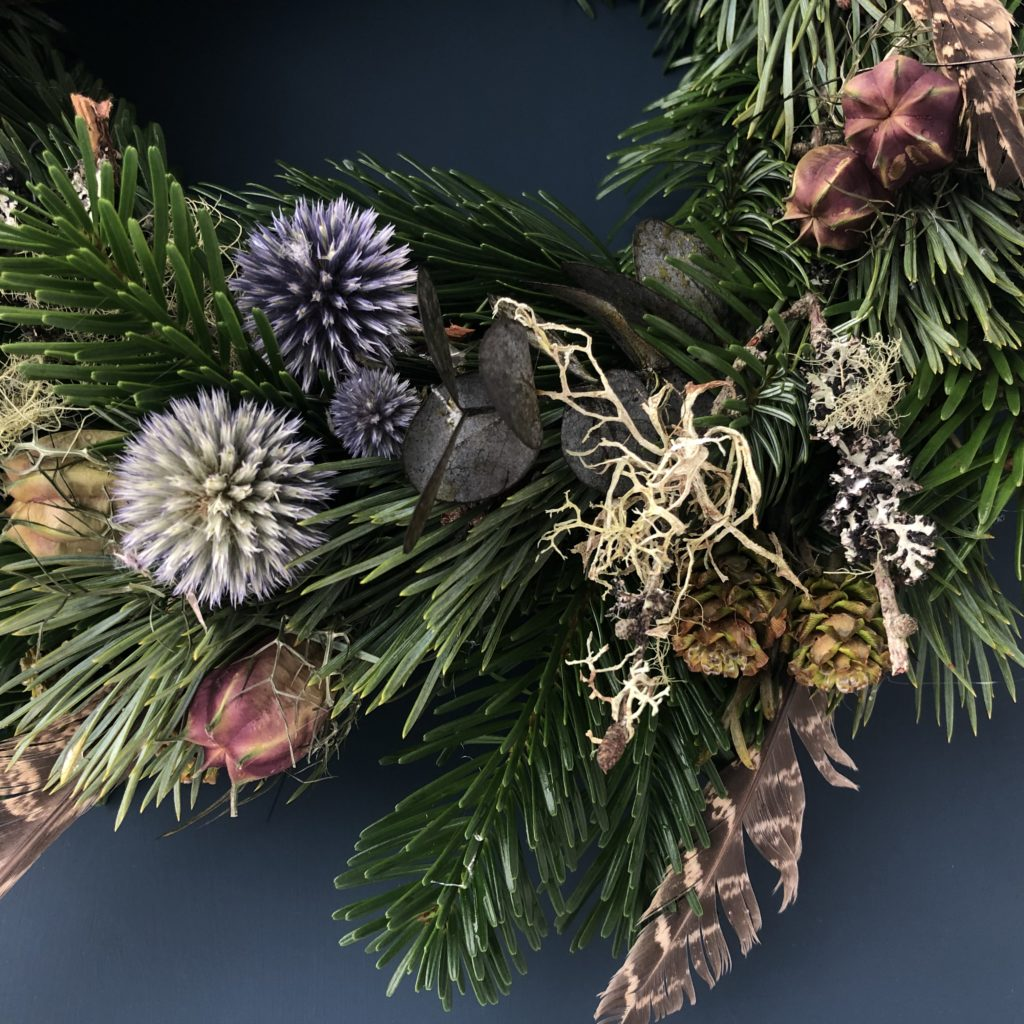 Close up of dried flowers on Christmas Wreath