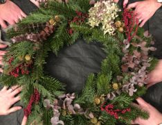 Wreath making helping hands