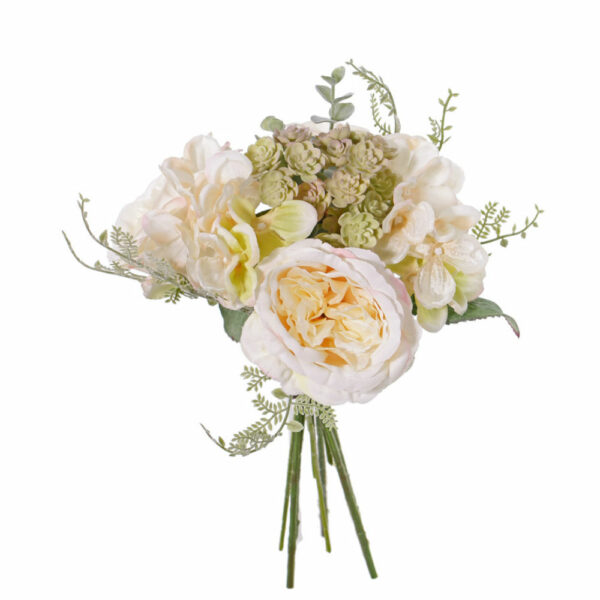 Artificial Rose and Hydrangea Bouquet, Cream