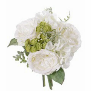 Artificial Rose, Succulent and Hydrangea Bouquet, White