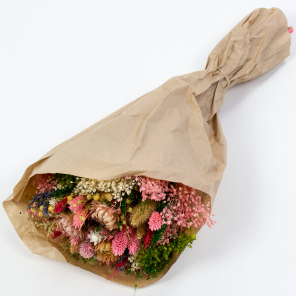 This image shows a Dried Sorriso Mixed Bouquet, laid on a white background.