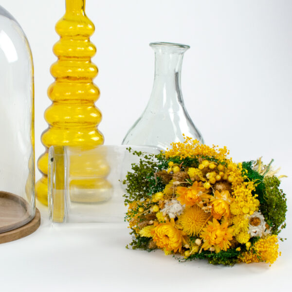 This image shows a styled view of a Dried Sorriso Mixed Bouquet on a white background