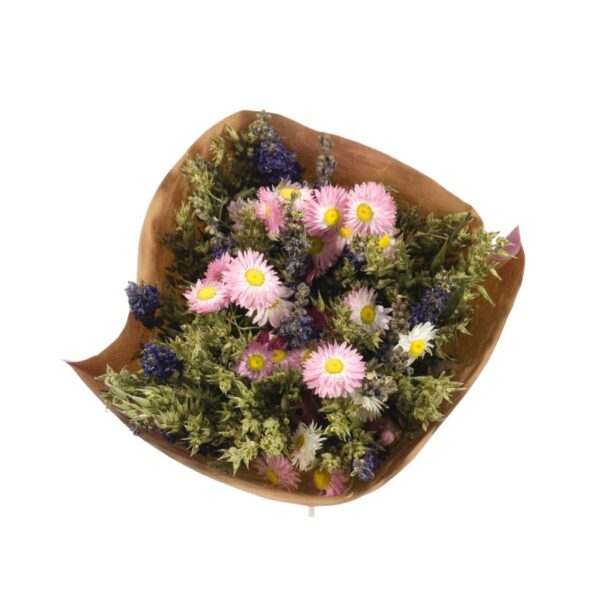 Dried flower bouquets, blue / pink