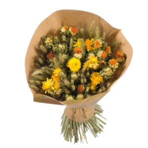 Dried flower bouquets, yellow