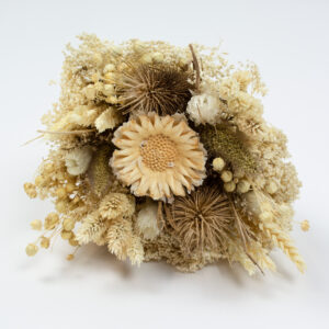 This image shows a front view of a Dried Sorriso Mixed Bouquet on a white background