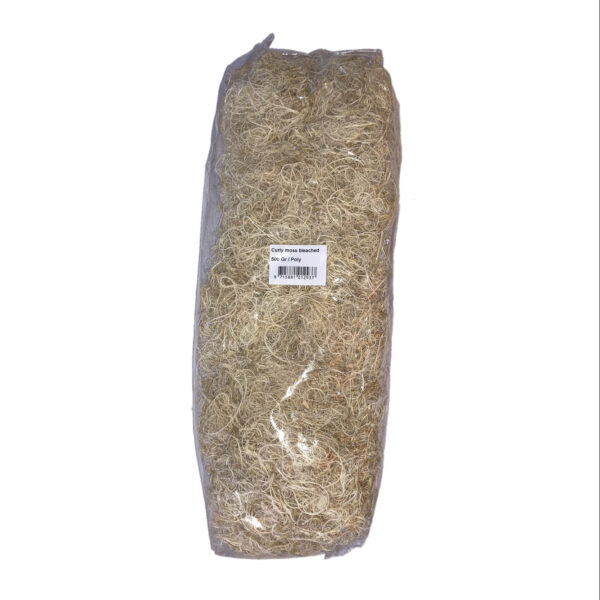 This image shows a bag of bleached curly moss. It is a woody, creamy colour and looks like little ringlets of foliage.