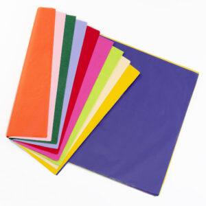 This is an image of coloured tissue paper in orange, pink, dark green, lilac, red, pink, lime green, cream, yellow and purple.