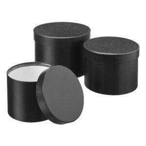 Set of 3 hat boxes, Black