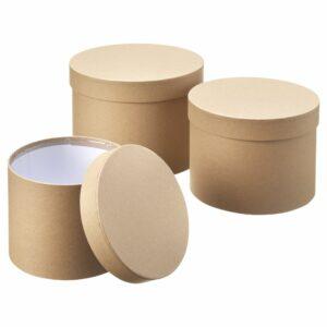 Set of 3 Hat Boxes, Natural Kraft