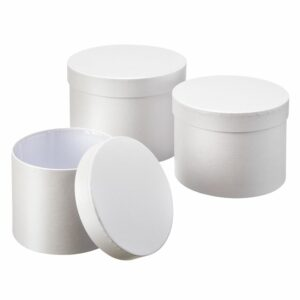 Set of 3 Hat Boxes, White