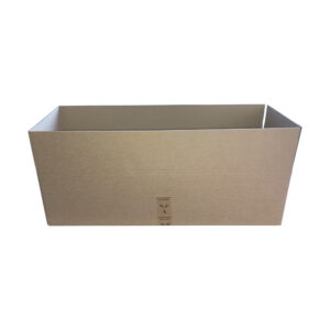This is an image of a large cardboard box showing a side view.