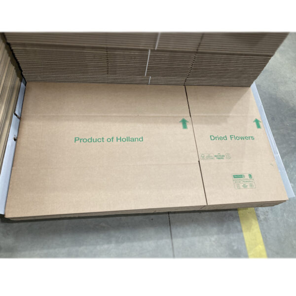 This is an image of a flatpacked cardboard box, ready to be packed and shipped.