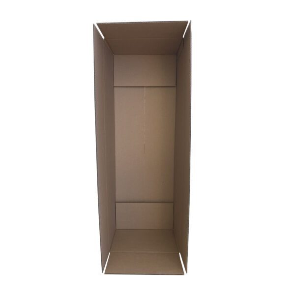 This is an image of a cardboard box, sitting upright on its short side to show the available area.