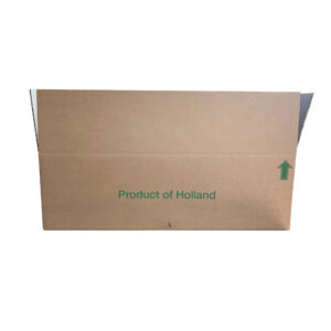 This is a view of the long side of a cardboard box.