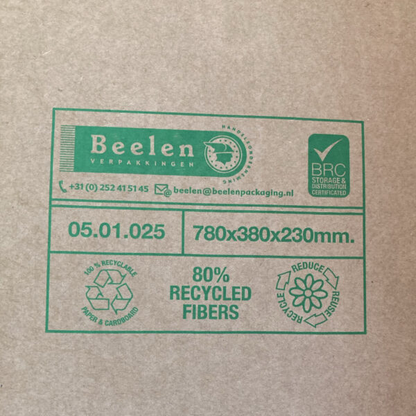 This is an image of the stamp on a cardboard box showing the details of the dimensions and recycling information.