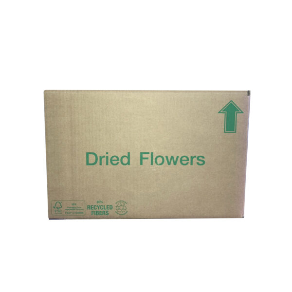 This an image of the short side of a cardboard box, showing the emblem Dried Flowers in green text.