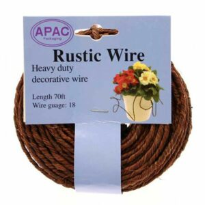 This image shows a reel of rustic brown wire.