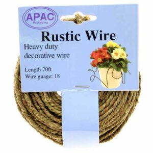 This image shows a reel of rustic green wire.