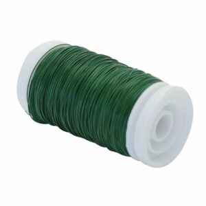 This image shows a single reel of green wire against a white background