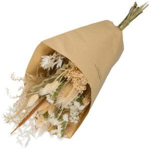 this is an image of a medium sized wildflower bouquet with a white theme, wrapped in brown kraft paper and laid on a white background.