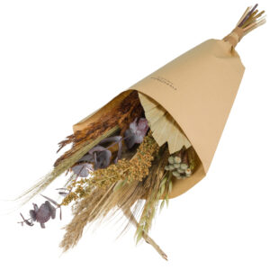 this is an image of a medium sized wildflower bouquet with a brown theme, wrapped in brown kraft paper and laid on a white background.