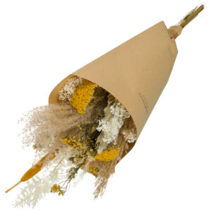 this is an image of a medium sized wildflower bouquet with a yellow theme, wrapped in brown kraft paper and laid on a white background.