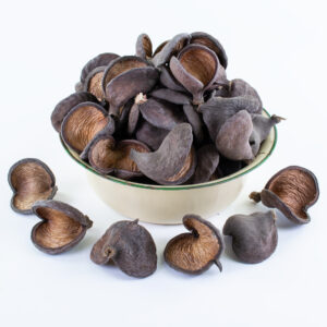 This image shows a group of 50 natural Badam shells against a white background