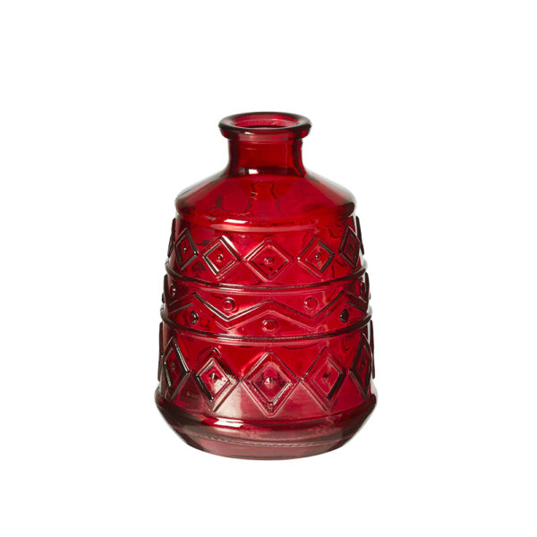 This image shows a moulded red vase against a white background