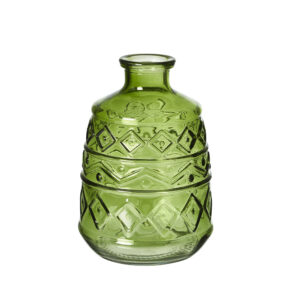 This image shows a moulded green vase against a white background