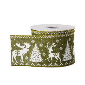 This image shows a reel of olive green ribbon with a white stag and christmas tree patten, against a white background