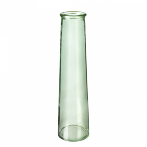 This image shows a tall, tapering green glass vase against a white background