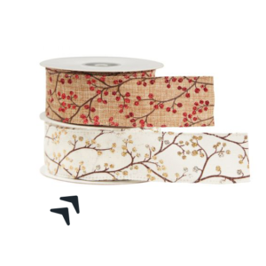 This image shows two reels of patterned ribbon against a white background