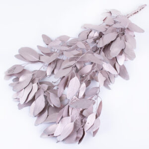 This image shows a bunch of metallic artic pink, eucalyptus populus against a white background.
